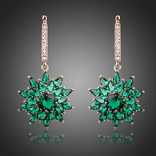 Dangling Dark Green Cubic Zirconia Earrings Bridal Chandelier Long Drop Earrings