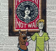 Scooby Doo vs  - Obey - Shepard Fairey - dictionary page art print gift