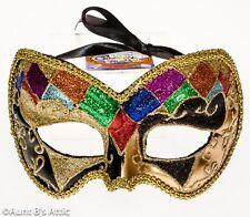 Mardi Gras Mask Gold Multi Color Diamond Patterned Glitter Eye Mask