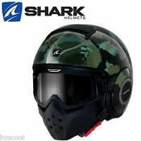 Casque SHARK RAW KURTZ noir vert lunette jet moto scooter armée kaki NEUF helmet