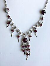 Cascajo Stone Nuggets Necklace Handmade Dark Purple White Swirl Peruvian Glass