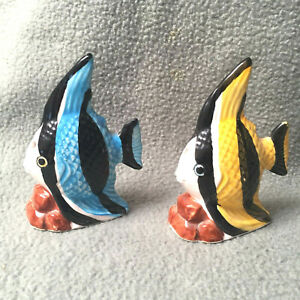 Tropical Fish Salt and Pepper Blue Yellow Shakers Salt And Pepper Vintage