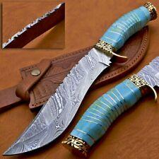 Beautiful Custom Handmade Damascus Steel Bowie Knife Blue Resin Handle