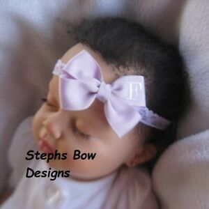 Lavender Monogram Dainty Hair Bow with Headband Personalized 4 Preemie 2 Toddler