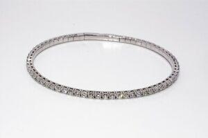 $6,000 3.31CT NATURAL ROUND CUT DIAMOND TENNIS BANGLE BRACELET 14K WHITE GOLD