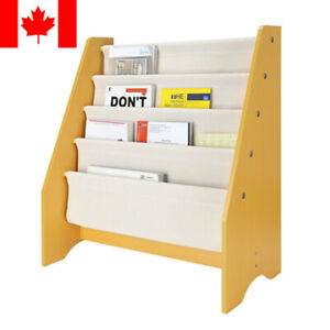 Wood Kids Book Shelf Sling Storage Rack Organizer Bookcase Display Holder Gifts