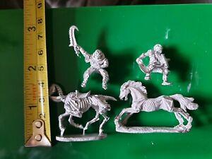 4x S series undead pre-slotta ral partha Grenadier miniatures skeletons horses