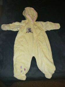 Disney Baby Thumper Bambi Fleece Hooded Coverall  6/9 months Yellow Pink NWOT