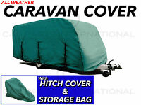 Touring Caravan Cover 4 Ply Elasticated Hem & Straps 6.5m - 7m With Hitch Cover
