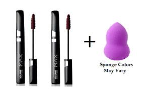 Max Factor Lash Perfection Vol Couture Soft Black #802 (2 Pack) + Makeup Sponge