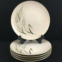 Set of 5 VTG Dinner Plates Sears Wild Rice Green Stoneware Wheat 4103 Japan