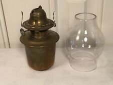 VINTAGE BRITISH BRASS SCREW ON TOP OIL LAMP WITH GLASS CHIMNEY