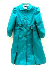 Rothschild Girls Spring Coat Aqua Teal Blue Size 10 Bows & Pleats