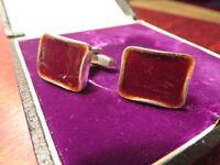 Retro 835 Silber Manschettenknöpfe Modern Designer 70 er Vintage Email Rot 80 er