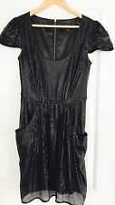WAYNE BY WAYNECOOPER WOMENS DRESS EMBELLISHED BLACK LINED POCKETS ZIP PARTY SZ10
