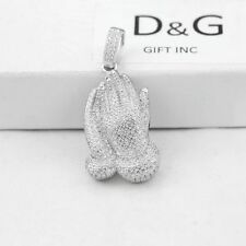 NEW Men's Sterling Silver .925 CZ 36mm Prayer Hands Pendant + Box