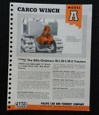 """1952 Allis Chalmers HD 5 9 15 Tracteur """" CARCO Modèle Un Treuil """" Spec Brochure"""