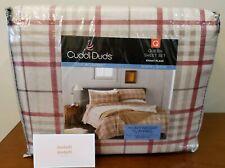 Cuddl Duds Queen Sheet Set Heavyweight Flannel 100% Cotton Khaki Plaid Nwt