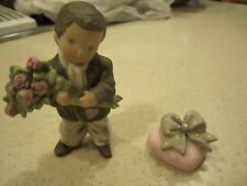 Enesco Kim Anderson Boy with Roses Heart Ring Box (1997) #201790 RETIRED!