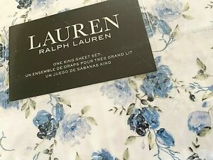 Lauren by RALPH LAUREN White Blue King KING Sheet Set 100% Cotton Extra Deep