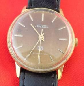 Raketa men wrist watch vintage Soviet USSR mechanical wristwatch with strap