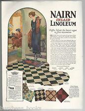 1925 NAIRN LINOLEUM advertisement, 1920s hallway, color art, Belflor inlaid