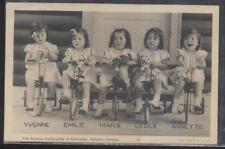 Postcard CALLANDER Ont/CANADA Dionne Quintuplets Riding Their Tricycles 1930's