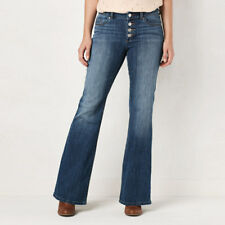 LC LAUREN CONRAD Women's Medium Wash Button Fly Flare Jeans Size 2