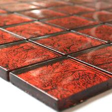 Glasmosaik Fliesen 48x48x8mm rot Metall