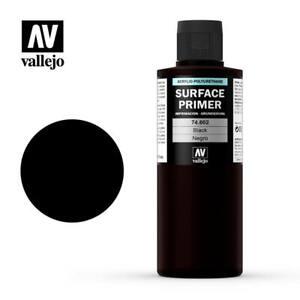 VALLEJO AIRBRUSH PAINT - MODEL AIR - SURFACE PRIMER BLACK 200ML - 74.602