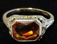 Lovely Vintage 10K White GOLD Filigree Gold Topaz Ladies Ring SIZE 7 Free Ship!