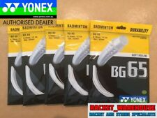 5 x PACKETS YONEX BG65 WHITE BADMINTON RACKET STRING 100% GENUINE