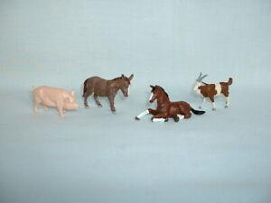 BRITAINS LTD Vintage Set Of 4 Plastic FARM ANIMALS Figure Toys (GOAT/DONKEY/PIG)