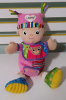 LAMAZE PLUSH TOY RATTLE GIRL WITH BIB  BABY TOY! TOMY 33CM!