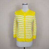 Ann Taylor Loft XS Cardigan Sweater Yellow White Stripe Cotton
