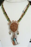 ARTISAN SIGNED STERLING SILVER COPPER SOUTHWEST FACE BIRD TURQUOISE NECKLACE