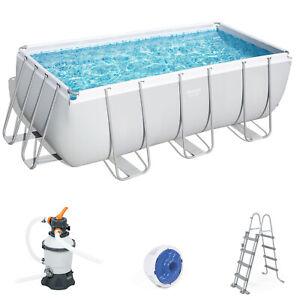 BESTWAY Power Steel Frame Pool Sandfilteranlage Sicherheitsleiter 412x201x122cm