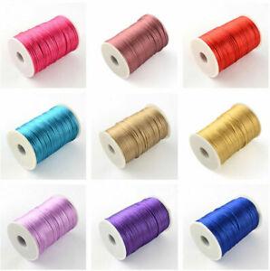Lady Luck3:10M Silk Satin Rattail 2mm Cord Macrame Thread for Kumihimo Shamballa