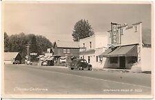 Street Scene in Chester CA RP Postcard Shell Gas