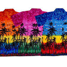 "Mens Hawaiian Shirt ""Hawaian Paradise"" / size S - 6XL / orange / pink / blue"