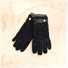 NWOT men's polo ralph lauren black leather quilted field gloves L/XL * OBO