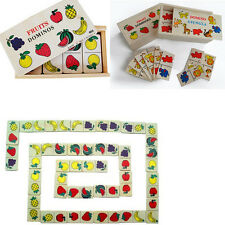 1x New Wooden Domino Solitaire Fruit Animal Blocks Puzzle Kids Educational Toys