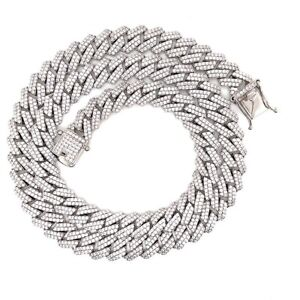 """Sterling Silver White Gold Plated Miami Cuban CZ Necklace 8mm 18"""""""