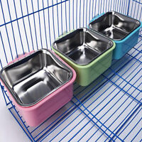 Metal Hang-on Bowl For Pet Dog Cat Crate Cage Food Water Bowl Pet Supplies LT
