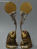 Unique Chinese Bronze Painting Wealth Money Golden Toad Spittor Statue Pair