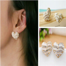 Showy Rhinestone Sweet Lovely Heart Sweet Women Crystal Ear Stud Earrings FT78