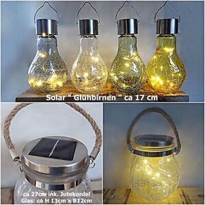 Solarlicht Solar leuchte Deko Hänge Garten Tisch Lampe Laterne Glühbirne hängend