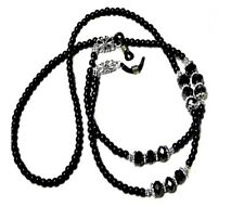 Reading Eye glasses spectacle lanyard chain necklace,  black pearl and crystal