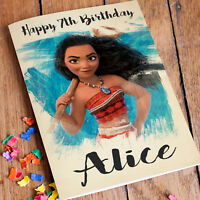 MOANA Personalised Birthday Card FREE Shipping | Granddaughter Girls Friend Sis