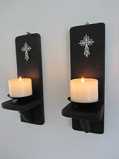 PAIR OF 12 INCH MATTE BLACK GOTHIC WALL SCONCE CANDLE HOLDERS WITH SILVER CROSS